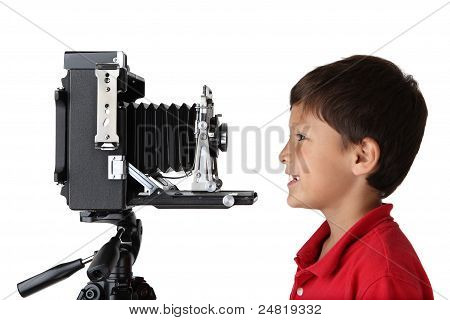 Boy And Old Camera