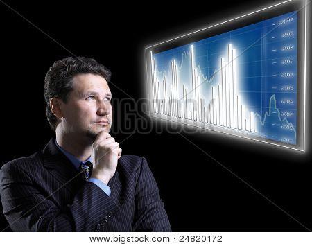 businessman and blue diagram