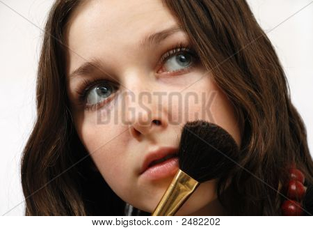 Face Of Young Model And Powder-Puff
