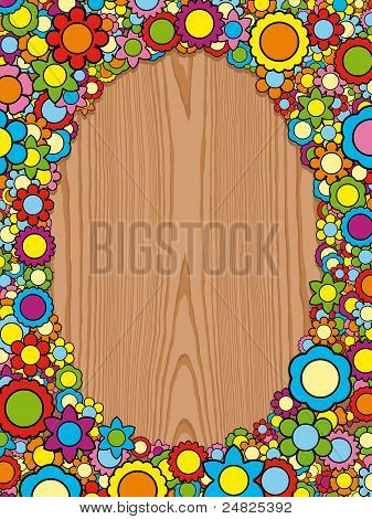 floral frame with colorful blossoms on wooden background