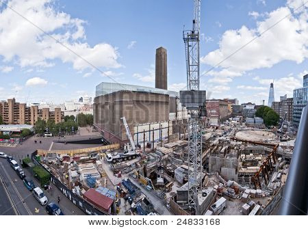LONDON, UK - SEPTEMBER 12: Building site at the south side of Tate Modern, which will become a part of London's new skyline on September 12, 2011 in London.