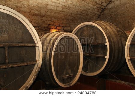 The Old Wine Cask In The Cellar