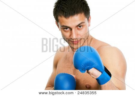 Image courageous boxer looking at camera