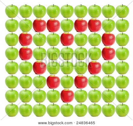 Green wet apples with red apples in heart shape in between on a white background
