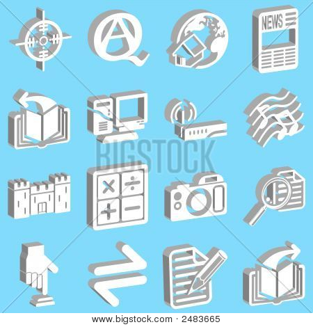 3D White Web Icons