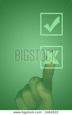 Touch Screen With Tick Box, Cross Box And Hand