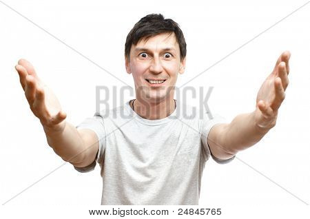 The joyful young man on a white background