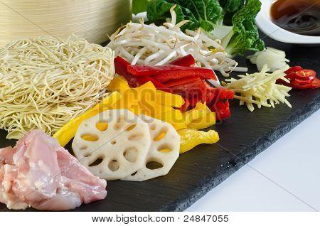fresh ingredients for chicken chow mein