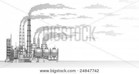 Industry concept: abstract plant with smokey sky. Bitmap copy my vector