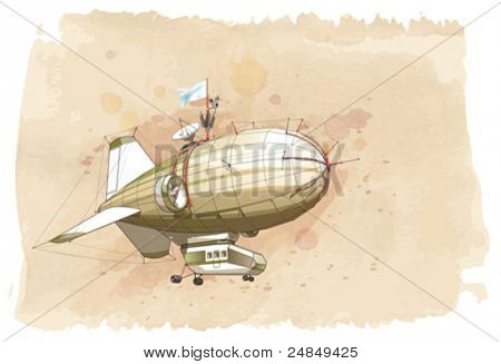 Dirigible balloon & watercolor vintage background. Vector illustration / Eps10
