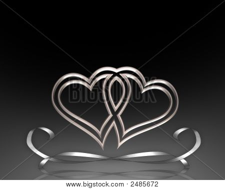 Valentine Hearts In Black And Silver