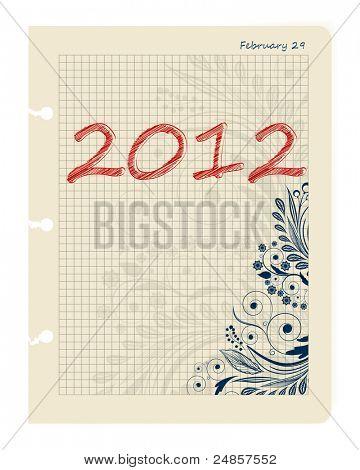 Sheet Business Datebook February 29, 2012. Leap date.