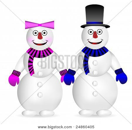 Snowman and snow woman