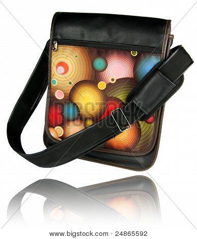 Ladies black leather Messenger bag