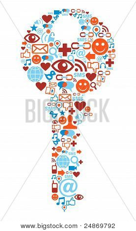 Key Symbol With Media Icons Texture
