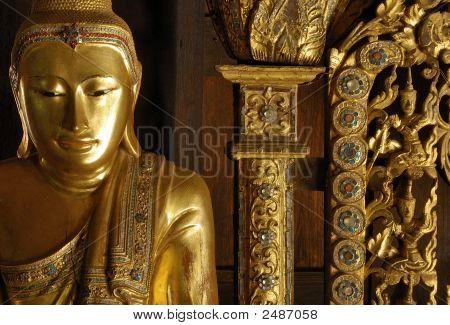Myanmar, Salay: Statue In A Yosqson Kyaung In Salay Monastery