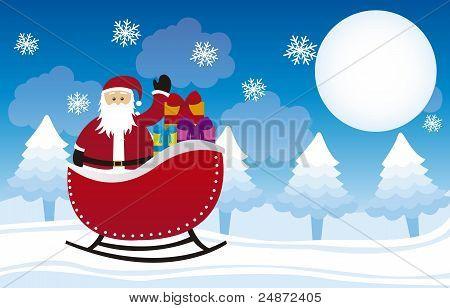 santa claus over sleigh
