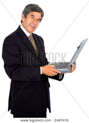 Business Man On A Laptop