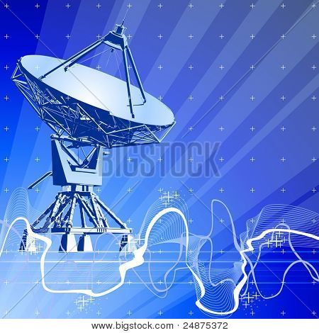 Satellite dishes antenna (doppler radar), digital wave & blue technology background. Bitmap copy my vector ID 27138499