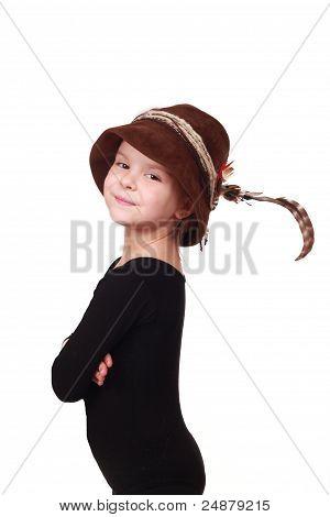 little girl in a hat hunter
