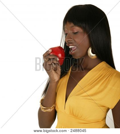 Fashion Girl Eating Red Apple