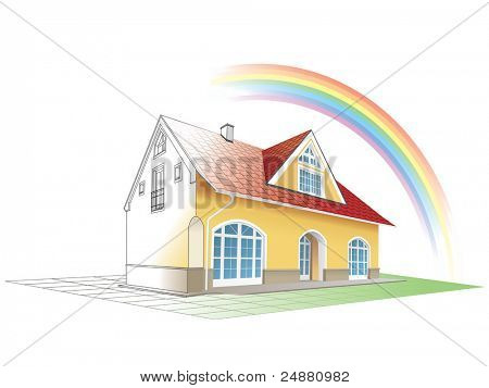 House from sketch to colorful reality, rainbow. Building, construction, painting. Vector illustration