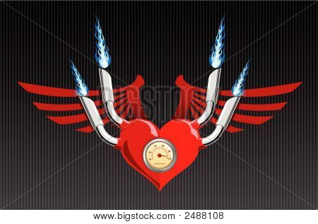 Vector Retro Motor Heart