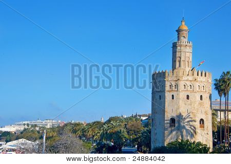 A view of the Torre del Oro, in Seville, Spain