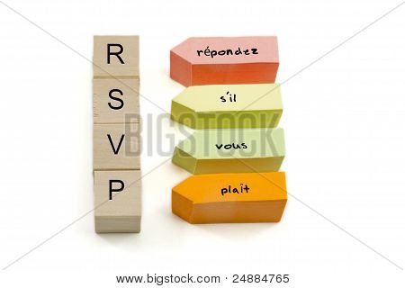 RSVP On Wooden Blocks And Sticky Notes