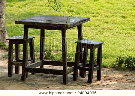 Black Wood Table And Chair