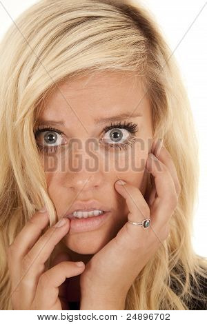 Blond Woman Head Shocked