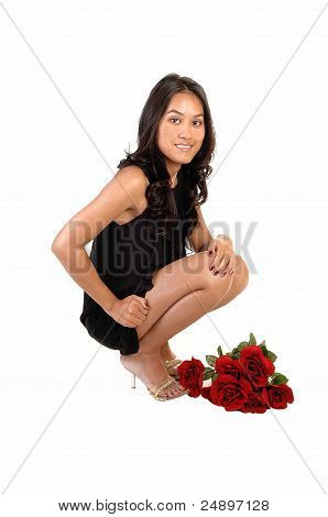 Woman With Red Roses.