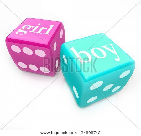 Two dice - blue and pink, marked boy and girl - roll to guess the gender of your baby you and your partner will have in your pregnancy