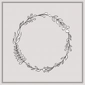 Doodle Floral Wreath - Beautiful Floral Wreath. This Design Has Lush Flowers And Foliage, And Were S poster