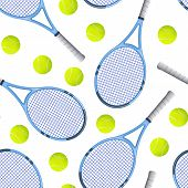Realistic Detailed 3d Tennis Racket And Ball Seamless Pattern Background On A White Equipment For Co poster
