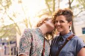 Affectionate Young Woman Kissing Her Smiling Girlfriend On The Cheek While Enjoying A Sunny Day Out  poster