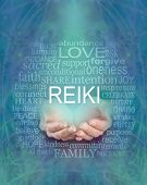 Reiki Words Of Wisdom Word Cloud -  Female Cupped Hands With The Word Reiki Floating Above Surrounde poster