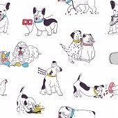 Seamless Pattern With Cute Dogs Demonstrating Bad Habits And Behavior. Backdrop With Naughty Domesti poster