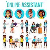Online Assistant Woman Set Vector. Online Global Tech Support 24 7. Advises Client. Headphone, Heads poster