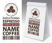 Paper Packaging With Label For Coffee Beans. Vector Label For Coffee With Coffee Bean And Inscriptio poster