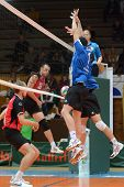 KAPOSVAR, HUNGARY - OCTOBER 29: Alpar Szabo (blue 1) in action at a Hungarian National Championship