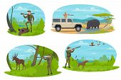 Hunting Sport Icon With Hunter Aiming Rifle At Forest And African Safari Animal. Huntsman With Shotg poster