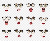 Woman With Glasses Facial Expressions, Gestures, Emotions Happiness Surprise Disgust Sadness Rapture poster
