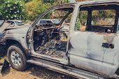Burnt Car By Accident In Vehicle Junk poster