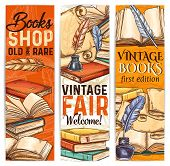 Vintage Bookshop Sketch Banner Of Old And Rare Book And Literature. Ancient Parchment Scroll, Book A poster