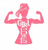Girl Power. Vector Lettering Illustration With Pink Female Silhouette Doing Bicep Curl And Hand Writ poster