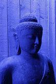 picture of siddhartha  - A Blue illuminated buddha statue in Thailand - JPG