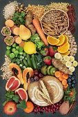 High fibre health food concept with fresh whole grain rye bread, cereals, grains, fruit, vegetables poster