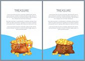 Treasure In Open Ancient Bags, Royal Crown And Luxurious Goblet Vector Illustrations. Old Sacks Stuf poster