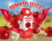 Tomato Juice Ads. Vector Realistic Illustration Of Tomato Juice Carton Box Packaging Mockup, Fresh A poster